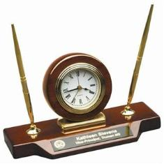 Clock pen sets business card holders gavels at delps awards engraved clock desk set with pen colourmoves